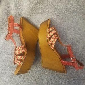 Sbicca vintage collection 7 wood wedge jute sandal
